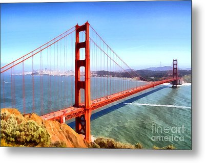 The Iconic San Francisco Golden Gate Bridge . 7d14507 Metal Print by Wingsdomain Art and Photography