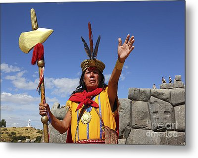 The Inca At Sacsayhuaman Metal Print by James Brunker