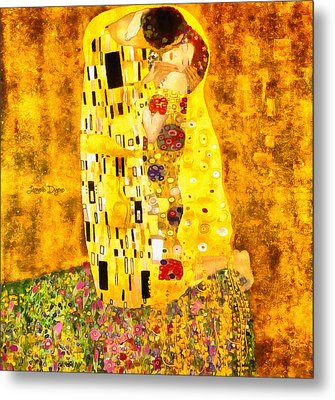 The Kiss By Gustav Klimt Revisited Metal Print by Leonardo Digenio