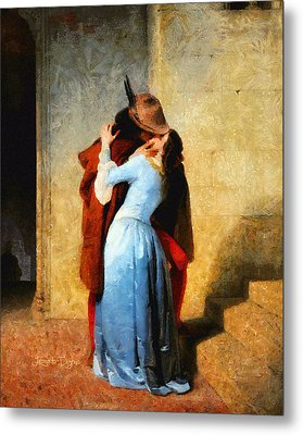 The Kiss Of Hayez Revisited Metal Print by Leonardo Digenio
