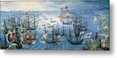 The Launching Of English Fire Ships On The Spanish Fleet Off Calais Metal Print by Flemish School