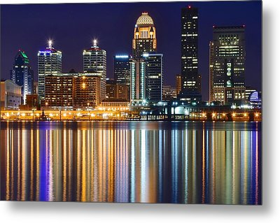 The Lights Of A Louisville Night Metal Print by Frozen in Time Fine Art Photography