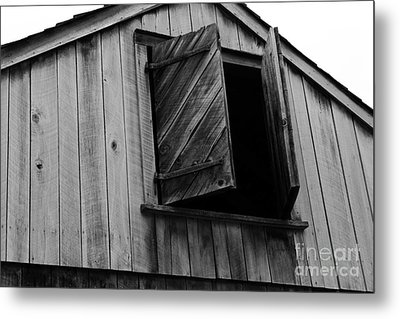 The Loft Door In Black And White Metal Print by Paul Ward