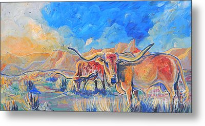The Longhorns Metal Print by Jenn Cunningham