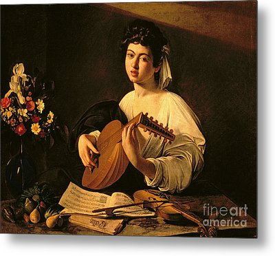 The Lute Player Metal Print by Michelangelo Merisi da Caravaggio