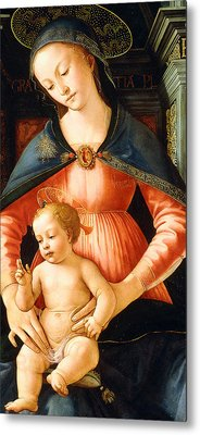 The Madonna And Child Enthroned Metal Print by Italian School