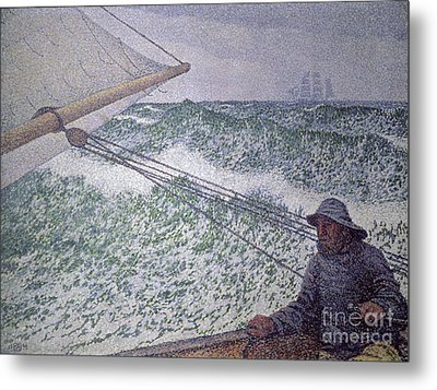The Man At The Tiller Metal Print by Theo van Rysselberghe