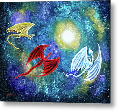 The Moon And Dragons Three Metal Print by Laura Iverson