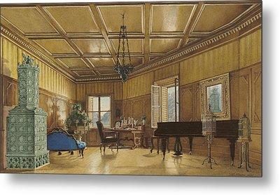 The Music Room Of Archduchess Margarete  Princess Of Saxony Metal Print by Heinrich Von Forster