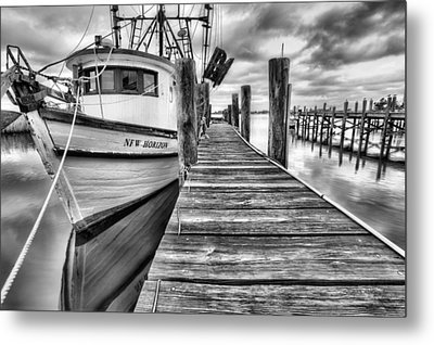 The New Horizon Shrimp Boat Bw Metal Print by JC Findley
