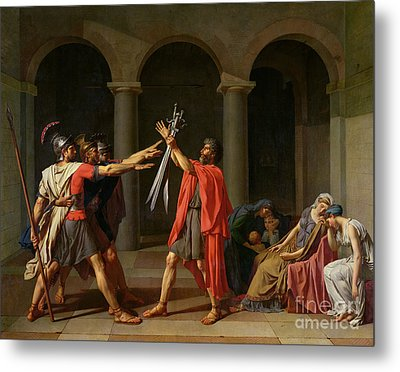 The Oath Of Horatii Metal Print by Jacques Louis David