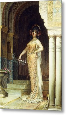 The Odalisque Metal Print by Edouard Frederic Wilhelm Richter