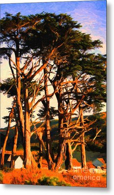 The Old Grove At The Ranch At Sunset . 40d4531 . Painterly Metal Print by Wingsdomain Art and Photography
