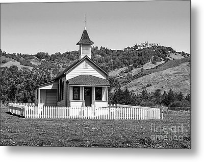The Old San Simeon Schoolhouse With The Famous Hearst Castle Metal Print by Jamie Pham