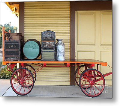 The Old Train Depot  - 5d18420 Metal Print by Wingsdomain Art and Photography