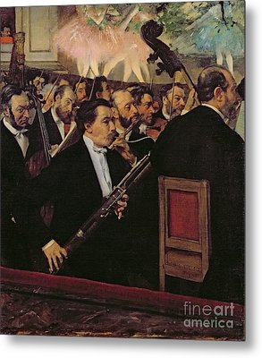 The Opera Orchestra Metal Print by Edgar Degas