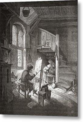 The Painter In His Workshop Metal Print by Vintage Design Pics