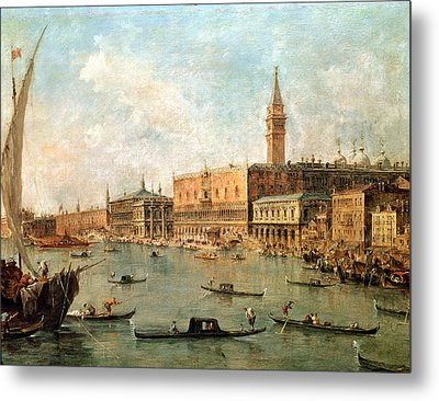 The Palace And The Molo From The Basin Of San Marco Metal Print by Francesco Guardi