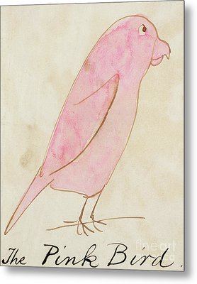 The Pink Bird Metal Print by Edward Lear