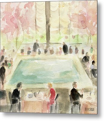 The Pool Room At The Four Seasons New York Metal Print by Beverly Brown Prints