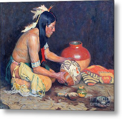 The Potter Metal Print by Eanger Irving Couse