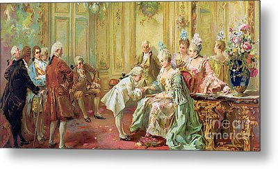 The Presentation Of The Young Mozart To Mme De Pompadour At Versailles Metal Print by Vicente de Parades