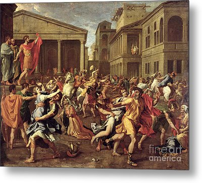 The Rape Of The Sabines Metal Print by Nicolas Poussin