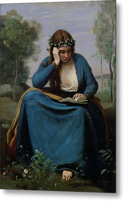The Reader Crowned With Flowers Metal Print by Jean Baptiste Camille Corot