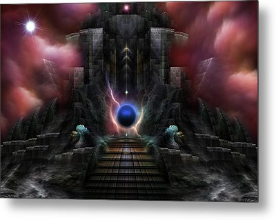 The Realm Of Osphilium Fractal Composition Metal Print by Xzendor7