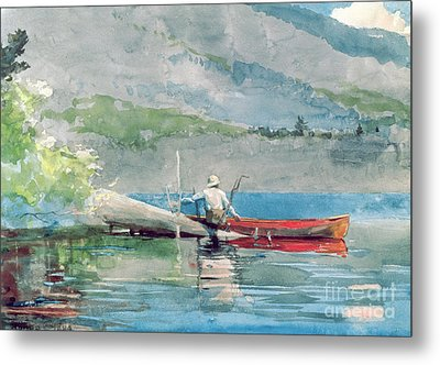 The Red Canoe Metal Print by Winslow Homer