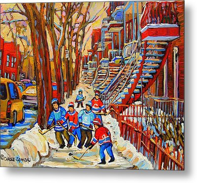 The Red Staircase Painting By Montreal Streetscene Artist Carole Spandau Metal Print by Carole Spandau