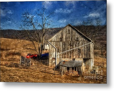 The Red Truck By The Barn Metal Print by Lois Bryan