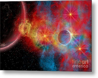 The Remains Of A Supernova Give Birth Metal Print by Mark Stevenson
