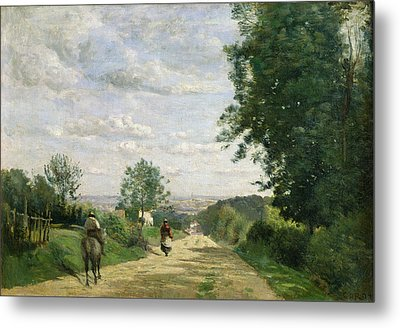 The Road To Sevres Metal Print by Jean Baptiste Camille Corot