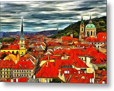 The Rooftops Of Prague  Metal Print by Jean-Marc Lacombe