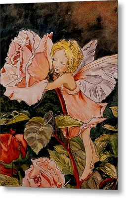 The Rose Fairy After Cicely Mary Barker Metal Print by Betty-Anne McDonald