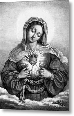 The Sacred Heart Of Mary Metal Print by French School