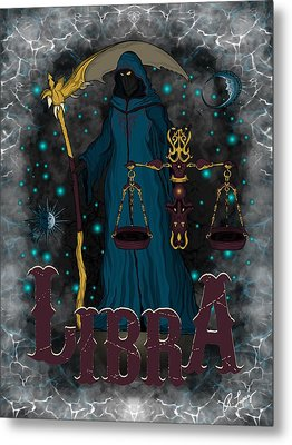 Metal Print featuring the drawing The Scale - Libra Spirit by Raphael Lopez