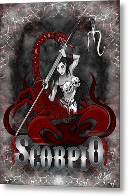 Metal Print featuring the drawing The Scorpion - Scorpio Spirit by Raphael Lopez