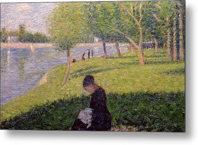 The Seamstress Or Sunday At The Grande Jatte Metal Print by Georges Pierre Seurat
