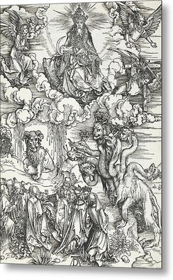The Seven-headed Beast And The Beast With Lamb's Horns Metal Print by Albrecht Durer