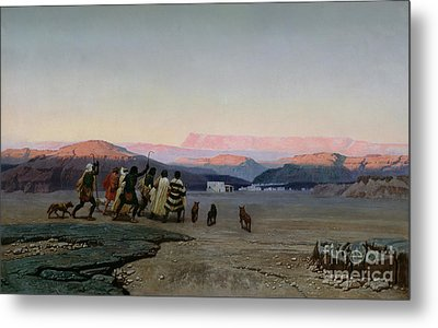 The Shepherds Led By The Star Arriving At Bethlehem Metal Print by Octave Penguilly lHaridon