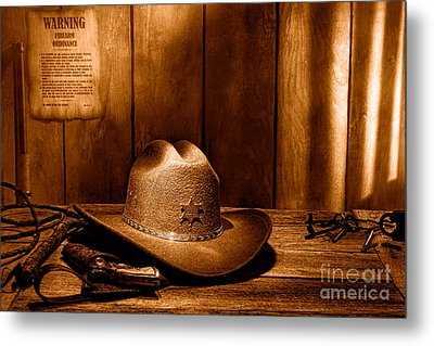 The Sheriff Office - Sepia Metal Print by Olivier Le Queinec