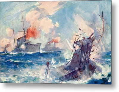 The Sinking Of A German U Boat After Being Rammed By The British Cruiser  Metal Print by English School