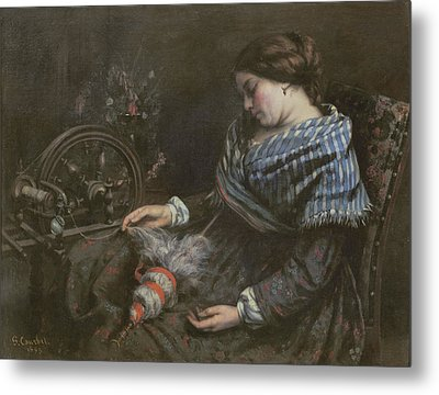 The Sleeping Embroiderer Metal Print by Gustave Courbet