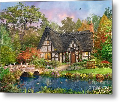 The Stoney Bridge Cottage Metal Print by Dominic Davison
