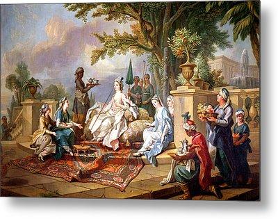 The Sultana Served By Her Eunuchs Metal Print by Charles Amedee Philippe van Loo