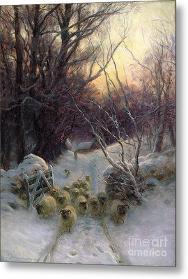The Sun Had Closed The Winter Day Metal Print by Joseph Farquharson