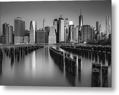 The Sun Rises At The New York City Skyline Bw Metal Print by Susan Candelario