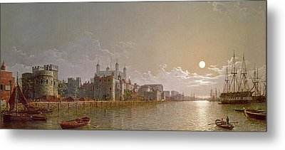 The Thames By Moonlight With Traitors' Gate And The Tower Of London Metal Print by Henry Pether